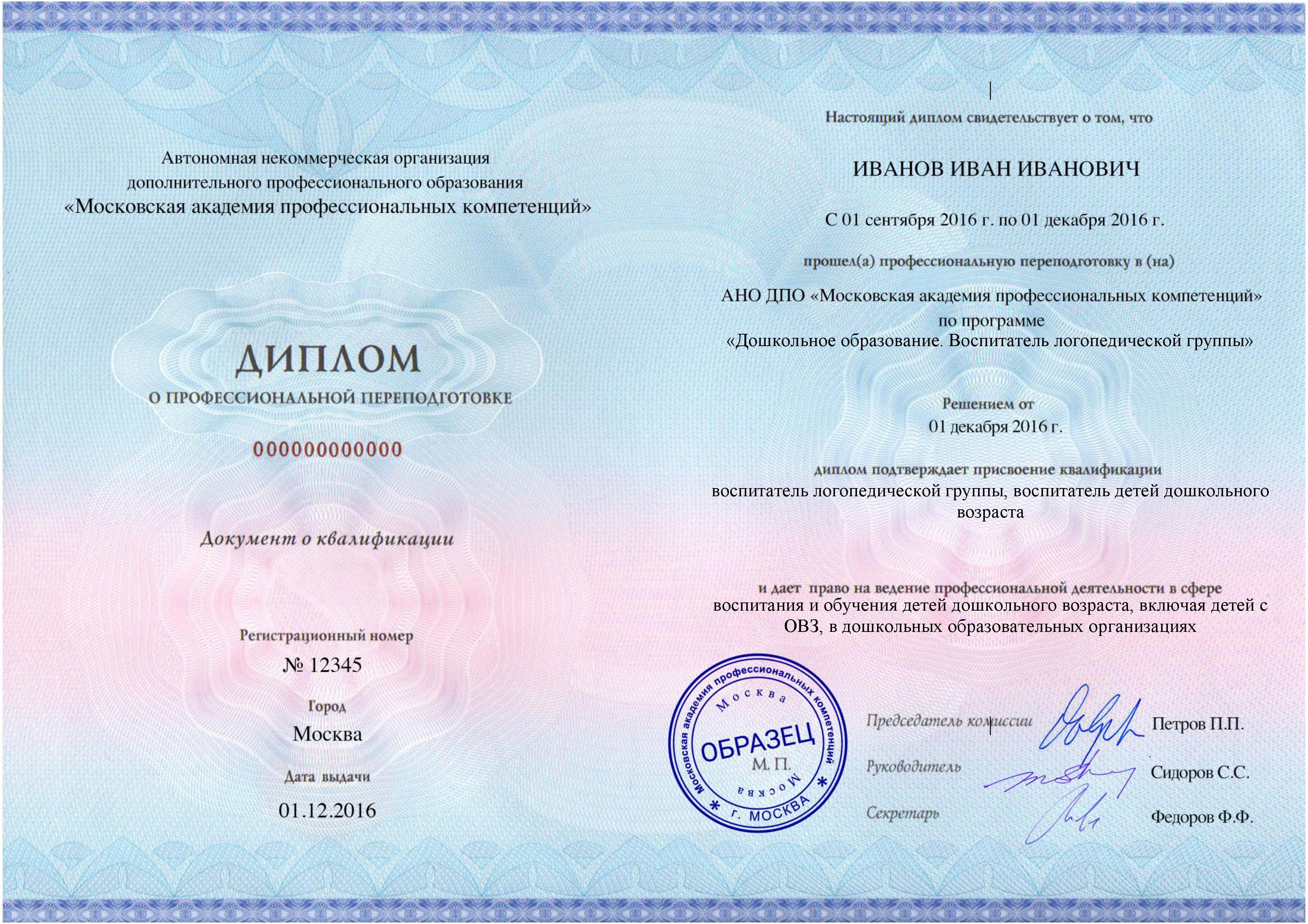 Дошкольное образование Воспитатель логопедической группы  Диплом с присвоением квалификации